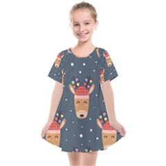 Cute Deer Heads Seamless Pattern Christmas Kids  Smock Dress by Vaneshart