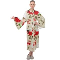 Christmas Coffe Cupcake Seamless Pattern Maxi Velour Kimono by Vaneshart