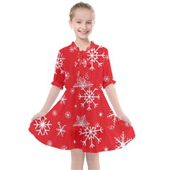 Christmas Seamless With Snowflakes Snowflake Pattern Red Background Winter Kids  All Frills Chiffon Dress by Vaneshart