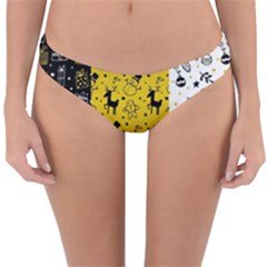 Black Golden Christmas Pattern Collection Reversible Hipster Bikini Bottoms by Vaneshart