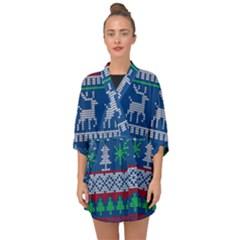 Knitted Christmas Pattern Half Sleeve Chiffon Kimono by Vaneshart