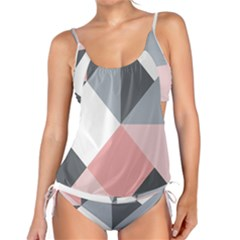 Pink, Gray, And White Geometric Tankini Set by mccallacoulture