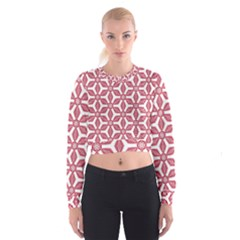 White Red Flowers Texture Cropped Sweatshirt by HermanTelo