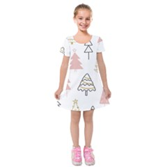 Christmas Pattern Kids  Short Sleeve Velvet Dress