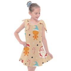 Funny Christmas Pattern Background Kids  Tie Up Tunic Dress by Vaneshart
