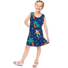 Colorful Funny Christmas Pattern Kids  Tunic Dress by Vaneshart