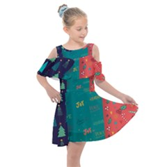 Hand Drawn Christmas Pattern Collection Kids  Shoulder Cutout Chiffon Dress by Vaneshart