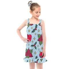Colorful Funny Christmas Pattern Kids  Overall Dress by Vaneshart