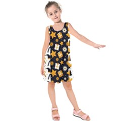 Black Golden Christmas Pattern Collection Kids  Sleeveless Dress by Vaneshart