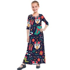 Colorful Funny Christmas Pattern Kids  Quarter Sleeve Maxi Dress by Vaneshart
