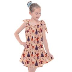 Funny Christmas Pattern Kids  Tie Up Tunic Dress by Vaneshart