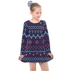 Christmas Concept With Knitted Pattern Kids  Long Sleeve Dress by Vaneshart