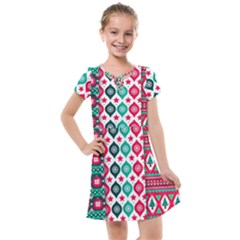 Flat Design Christmas Pattern Collection Kids  Cross Web Dress by Vaneshart