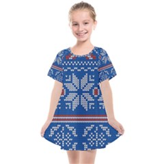 Beautiful Knitted Christmas Pattern Kids  Smock Dress by Vaneshart