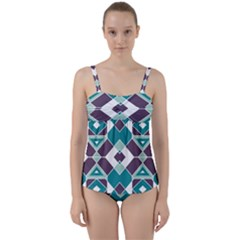 Teal And Plum Geometric Pattern Twist Front Tankini Set by mccallacoulture