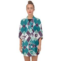 Teal And Plum Geometric Pattern Half Sleeve Chiffon Kimono by mccallacoulture