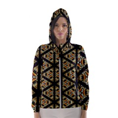 Pattern Stained Glass Triangles Women s Hooded Windbreaker