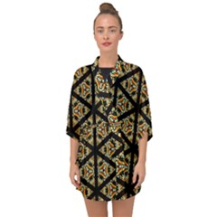 Pattern Stained Glass Triangles Half Sleeve Chiffon Kimono by HermanTelo