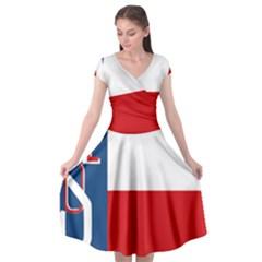 Flag Of Sokol Cap Sleeve Wrap Front Dress