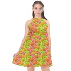 Citrus Pop Halter Neckline Chiffon Dress  by VeataAtticus
