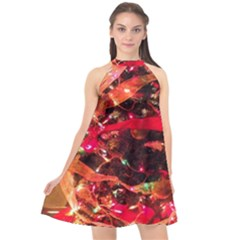 Christmas Tree  1 3 Halter Neckline Chiffon Dress  by bestdesignintheworld