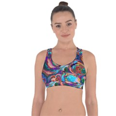 Seamless Abstract Colorful Tile Cross String Back Sports Bra by HermanTelo