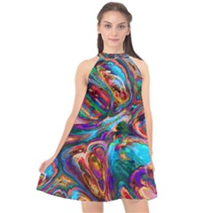 Seamless Abstract Colorful Tile Halter Neckline Chiffon Dress  by HermanTelo
