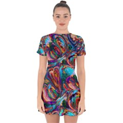 Seamless Abstract Colorful Tile Drop Hem Mini Chiffon Dress