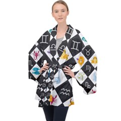 Zodiac Astrology Horoscope Long Sleeve Velvet Kimono  by HermanTelo
