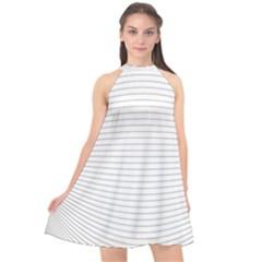 Pattern Background Monochrome Halter Neckline Chiffon Dress