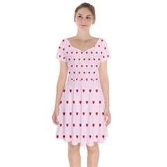 Hearts Seamless Pattern Pink Background Short Sleeve Bardot Dress by Wegoenart