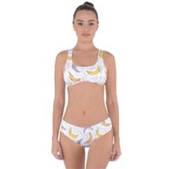 Seamless Stylish Pattern With Fresh Yellow Bananas Background Criss Cross Bikini Set by Wegoenart