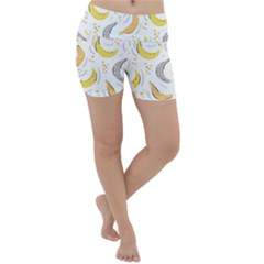 Seamless Stylish Pattern With Fresh Yellow Bananas Background Lightweight Velour Yoga Shorts by Wegoenart