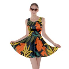 Fashionable Seamless Tropical Pattern With Bright Green Blue Plants Leaves Skater Dress