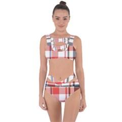 Plaid Mosaic Pixel Seamless Pattern Bandaged Up Bikini Set  by Wegoenart