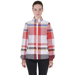 Plaid Mosaic Pixel Seamless Pattern Women s High Neck Windbreaker by Wegoenart