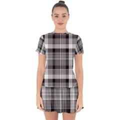 Black White Plaid Checked Seamless Pattern Drop Hem Mini Chiffon Dress by Wegoenart