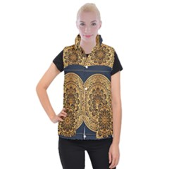 Luxury Mandala Background With Golden Arabesque Pattern Arabic Islamic East Style Premium Vector Women s Button Up Vest by Wegoenart