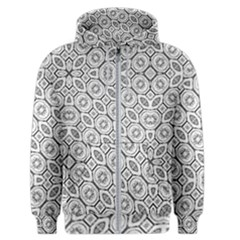 Black And White Baroque Ornate Print Pattern Men s Zipper Hoodie by dflcprintsclothing