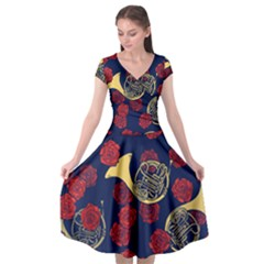 Roses French Horn  Cap Sleeve Wrap Front Dress