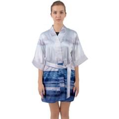 Pink Ocean Hues Half Sleeve Satin Kimono  by TheLazyPineapple