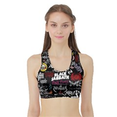 Metal Bands College Sports Bra With Border by Sudhe