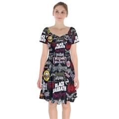 Metal Bands College Short Sleeve Bardot Dress by Sudhe
