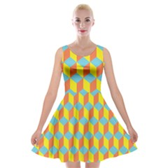 Cube Hexagon Pattern Yellow Blue Velvet Skater Dress