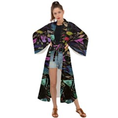 Background Drawing Colorful Pattern Maxi Kimono by Vaneshart