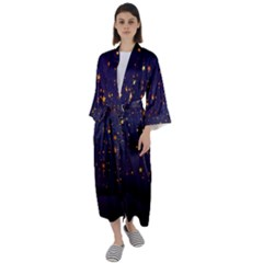 Christmas Background Star Maxi Satin Kimono by Vaneshart