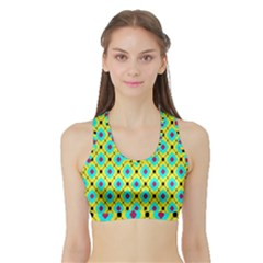 Pattern Tiles Square Design Modern Sports Bra With Border by Vaneshart