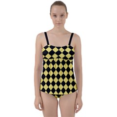 Block Fiesta - Blonde Yellow & Black Twist Front Tankini Set