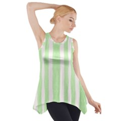 Tarija 016 White Light Green Side Drop Tank Tunic by Mowc