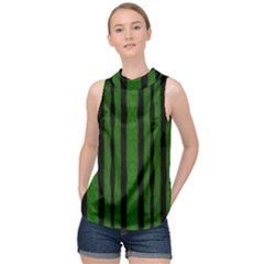 Tarija 016 Black Green High Neck Satin Top by Mowc